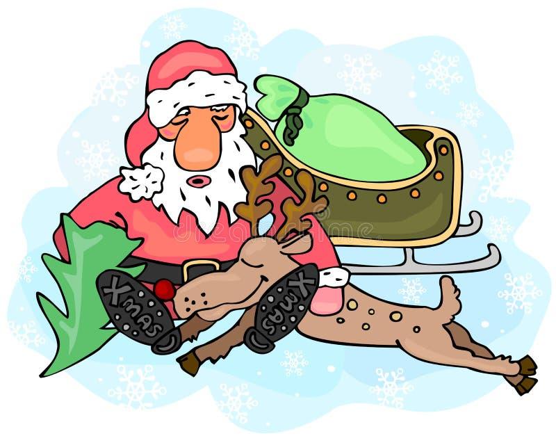Zmęczony Święty Mikołaj i renifer ilustracji