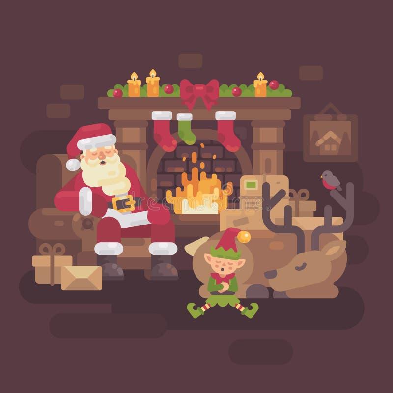 Zmęczony Święty Mikołaj z jego renifera i elfa dosypianiem ogieniem ilustracji
