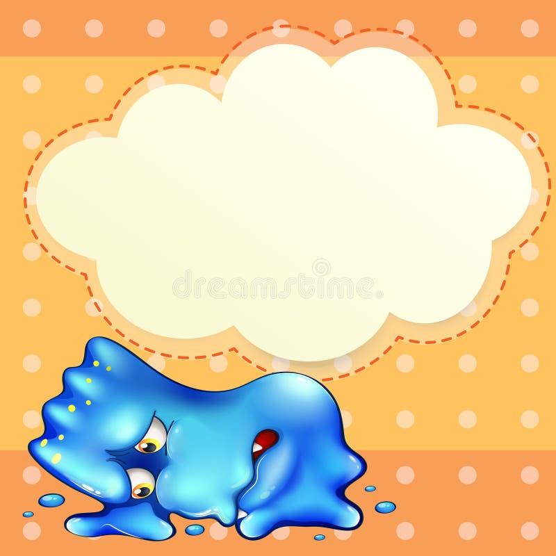 Zmęczony błękitny potwór pod pustym obłocznym szablonem royalty ilustracja