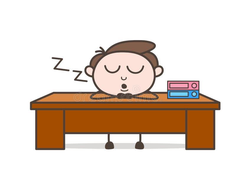 Zmęczony Biurowego pracownika dosypianie w Biurowym czasu wektoru pojęciu royalty ilustracja