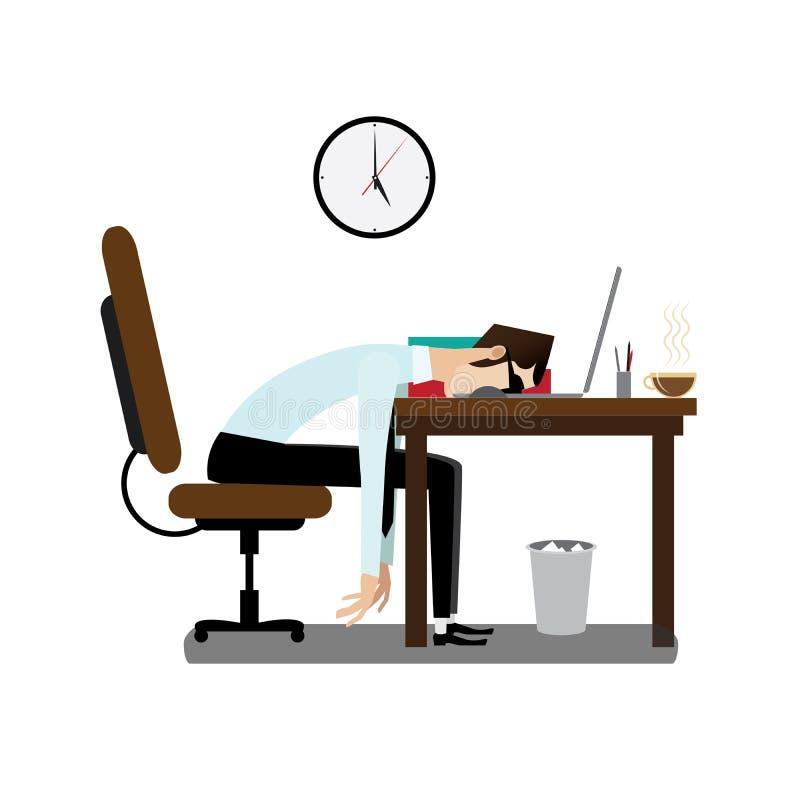 Zmęczony biurowy mężczyzna dosypianie przy biurkiem ilustracji