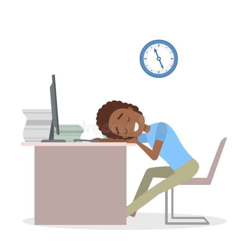Zmęczony biznesmena dosypianie w biurze royalty ilustracja