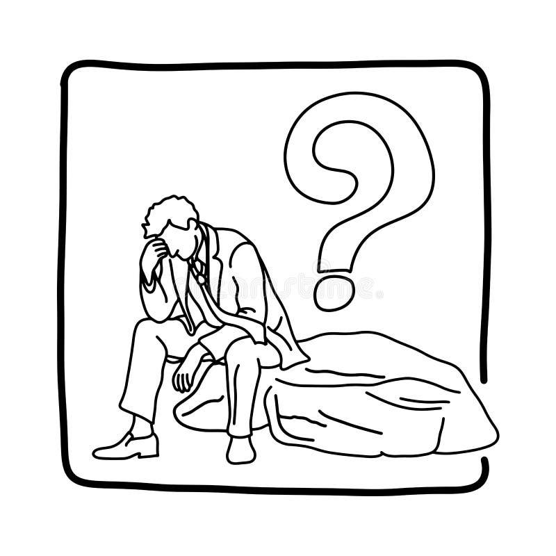 Zmęczony biznesmena lub urzędnika obsiadanie na dużej skale z znak zapytania nakreślenia doodle wektorową ilustracyjną ręką rysuj ilustracja wektor