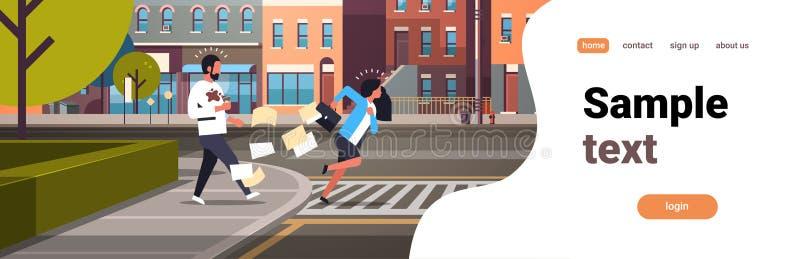 Zmęczony biznesowej kobiety crosswalk dosunięcia działający mężczyzna z filiżanki miasta drogowych budynków ulicznego tła horyzon ilustracji