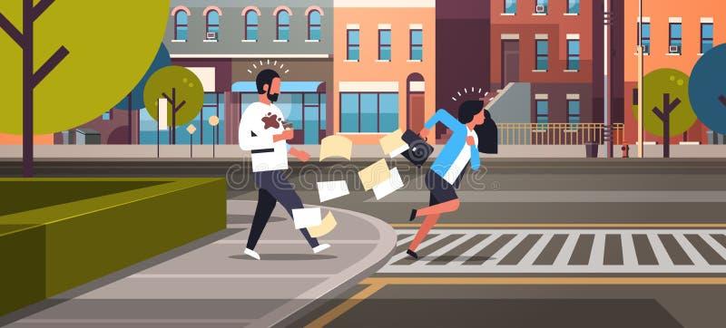 Zmęczony biznesowej kobiety crosswalk dosunięcia działający mężczyzna z filiżanki miasta drogowych budynków ulicznego tła horyzon ilustracja wektor