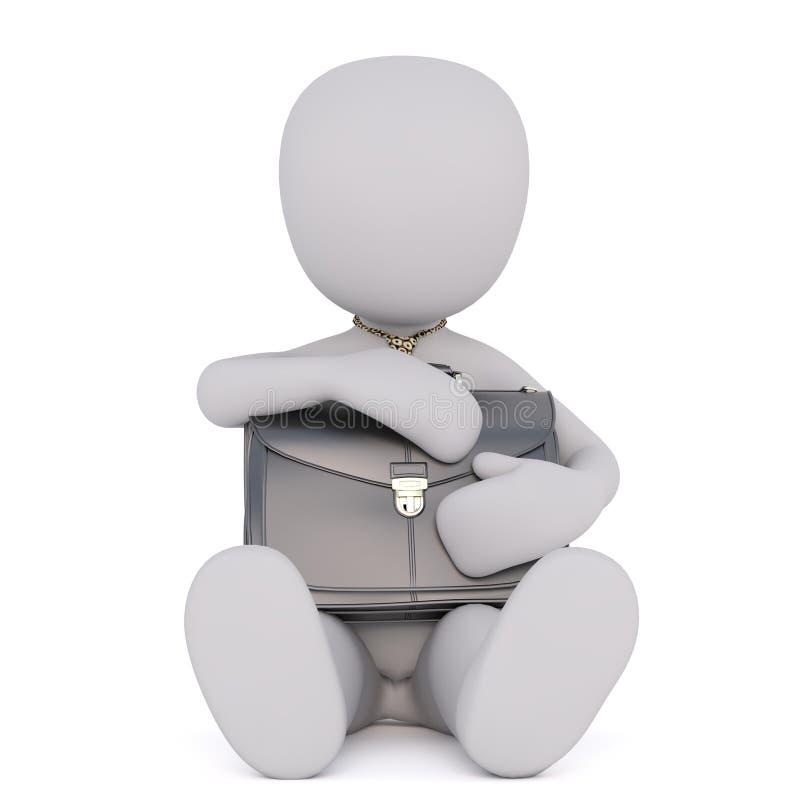 Zmęczony biznesowy Toon z rękami na kolanach ilustracja wektor