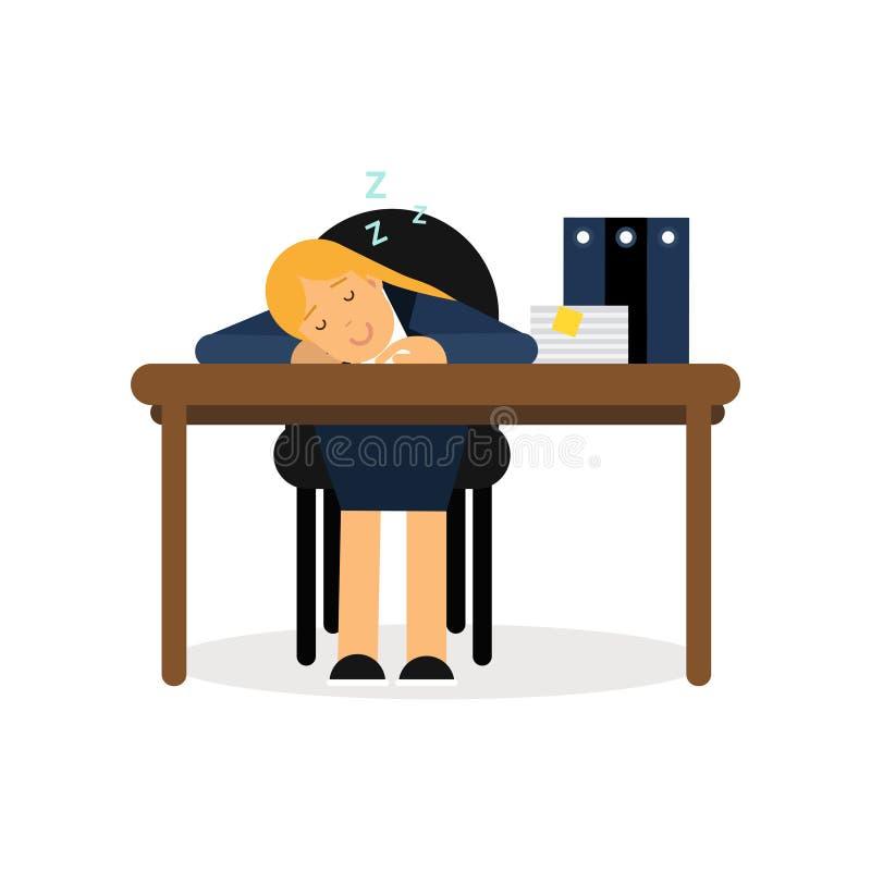 Zmęczony bizneswomanu dosypianie na biurowym biurku, skołowanego pracownika kreskówki wektoru relaksująca ilustracja royalty ilustracja