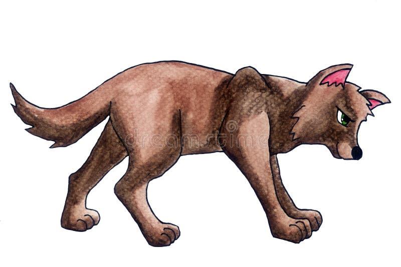 Zmęczony Brown akwareli wilk ilustracji
