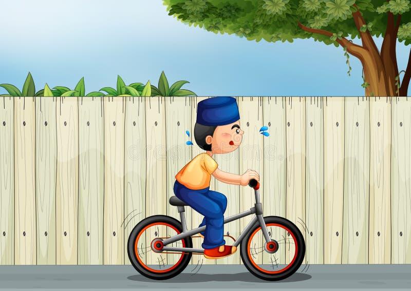 Zmęczony chłopiec jechać na rowerze royalty ilustracja