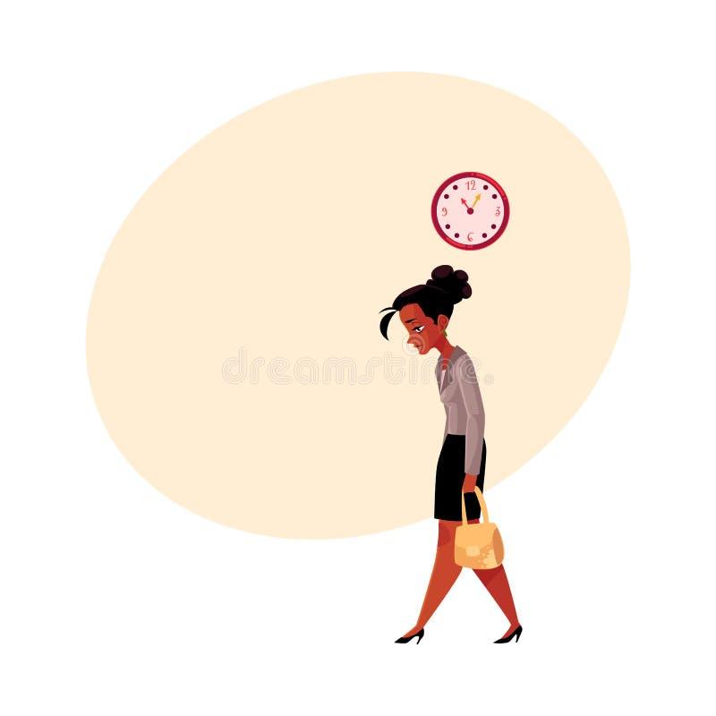Zmęczony czerń, amerykanina afrykańskiego pochodzenia bizneswoman, iść do domu po pracy ilustracja wektor
