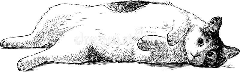Zmęczony domowy kot ilustracja wektor