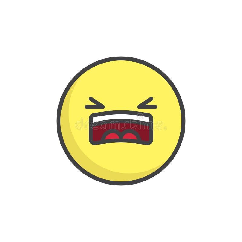 Zmęczony emoticon wypełniająca twarz konturu ikona royalty ilustracja