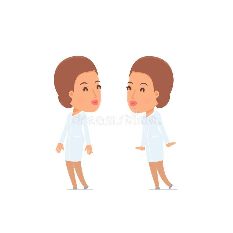 Zmęczony i Skołowany charakter pielęgniarki dosypianie na ramieniu ilustracji