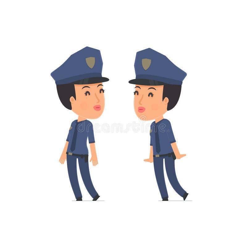 Zmęczony i Skołowany charakter polici dosypianie na shoul royalty ilustracja