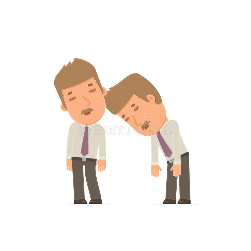 Zmęczony i Skołowany charakteru maklera dosypianie na ramieniu ilustracja wektor