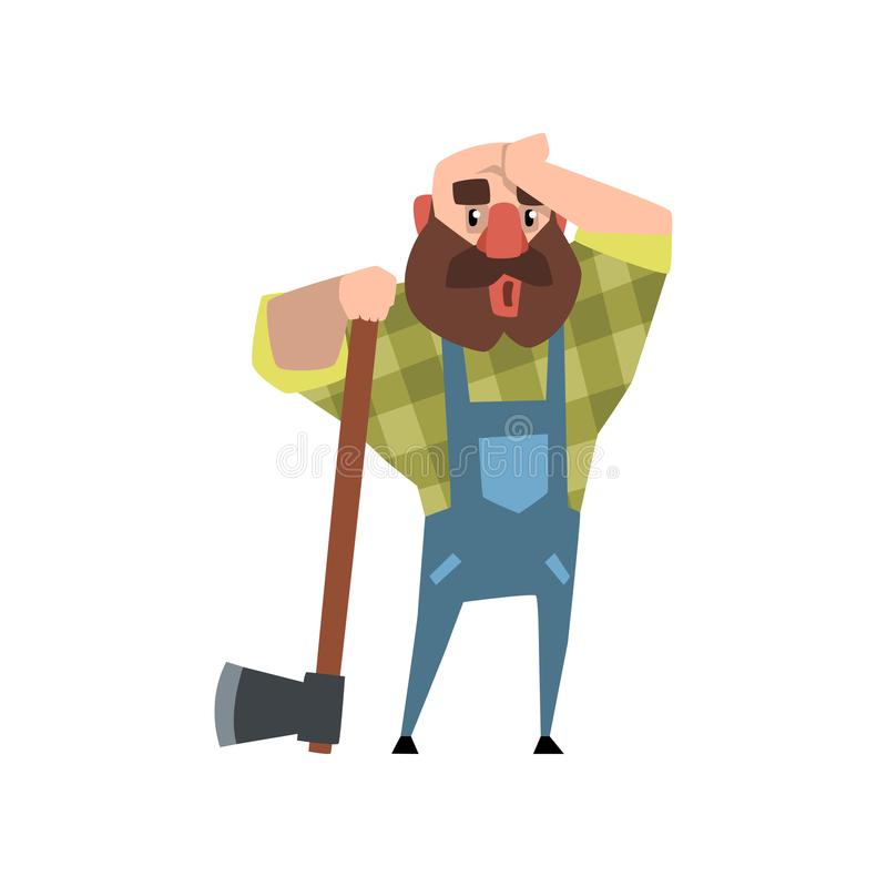Zmęczony lumberjack opiera na ciosce i naciera jego czoło z jego ręką Kreskówka mężczyzna łysy charakter w zielony w kratkę ilustracji