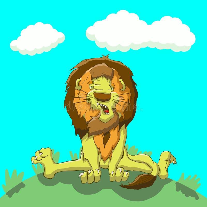 Zmęczony lwa obsiadanie na gazonie obraz stock
