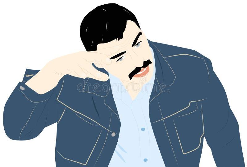 Zmęczony mężczyzna ilustracji