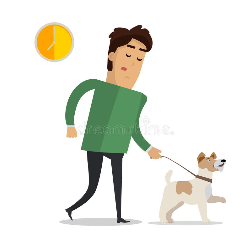 Zmęczony mężczyzna Chodzi z jego psem w Przypadkowych ubraniach ilustracja wektor