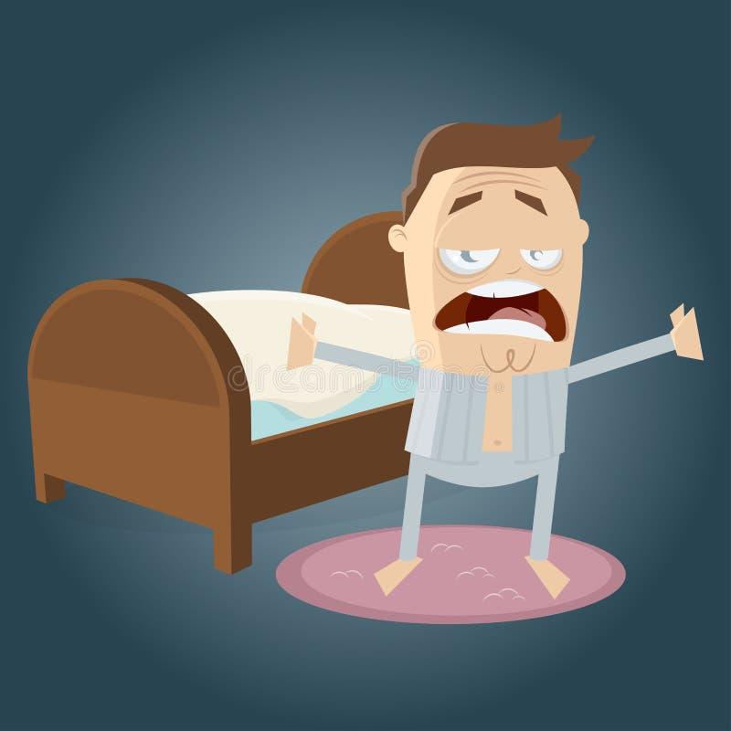 Zmęczony mężczyzna dostaje z łóżka ilustracja wektor