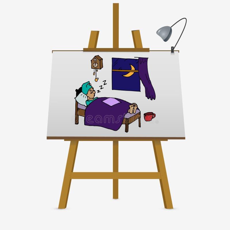 Zmęczony mężczyzna dosypianie ilustracji
