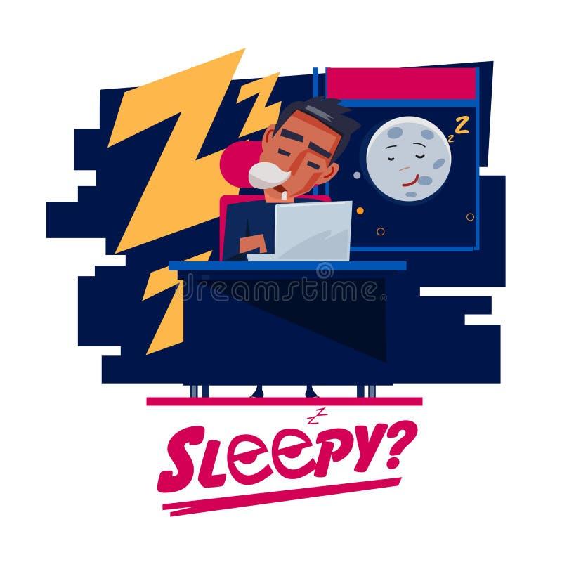 Zmęczony mężczyzna dosypianie przy praca stołem nocny czas - royalty ilustracja