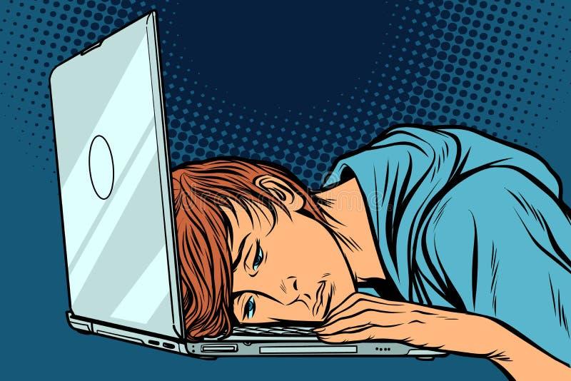 Zmęczony mężczyzna przy komputerem ilustracji