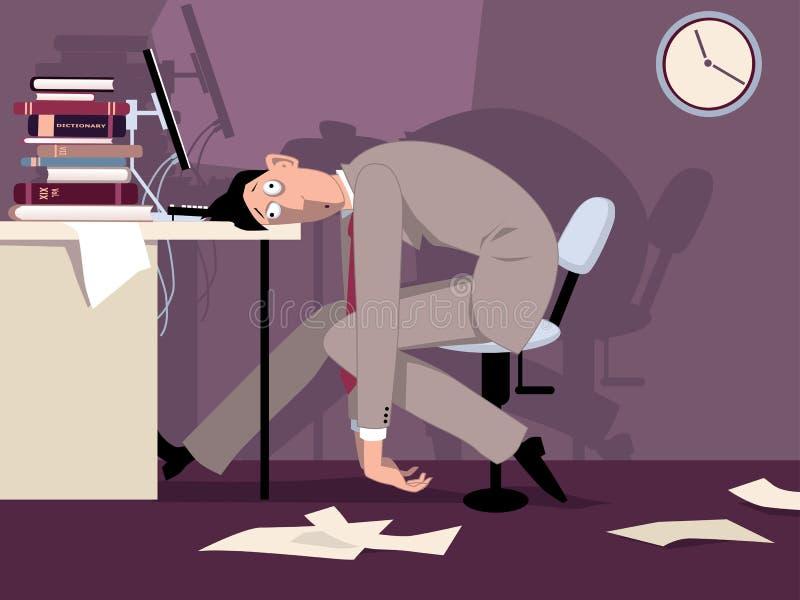 Zmęczony mężczyzna przy pracą royalty ilustracja