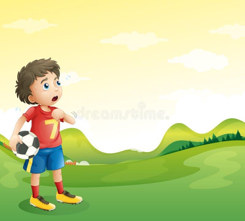 Zmęczony młody gracz piłki nożnej w jego czerwonym mundurze royalty ilustracja