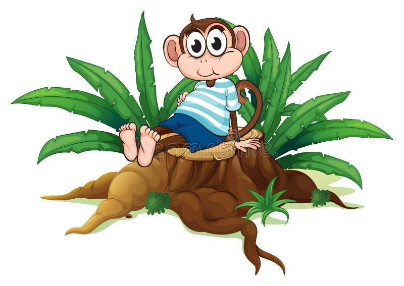 Zmęczony małpi obsiadanie nad drewno royalty ilustracja