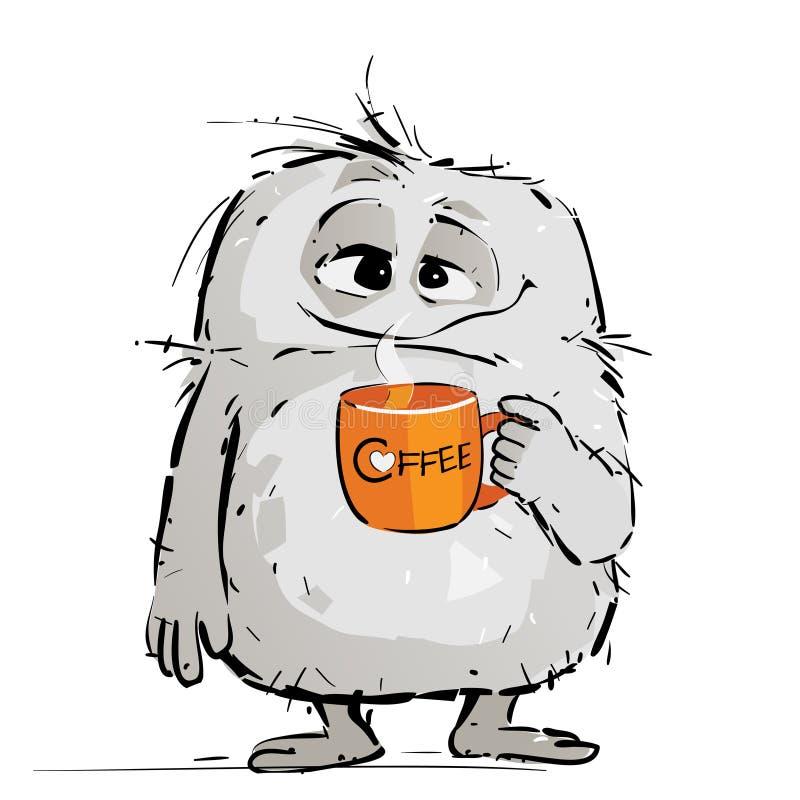 Zmęczony Mały potwór Pije kawę royalty ilustracja