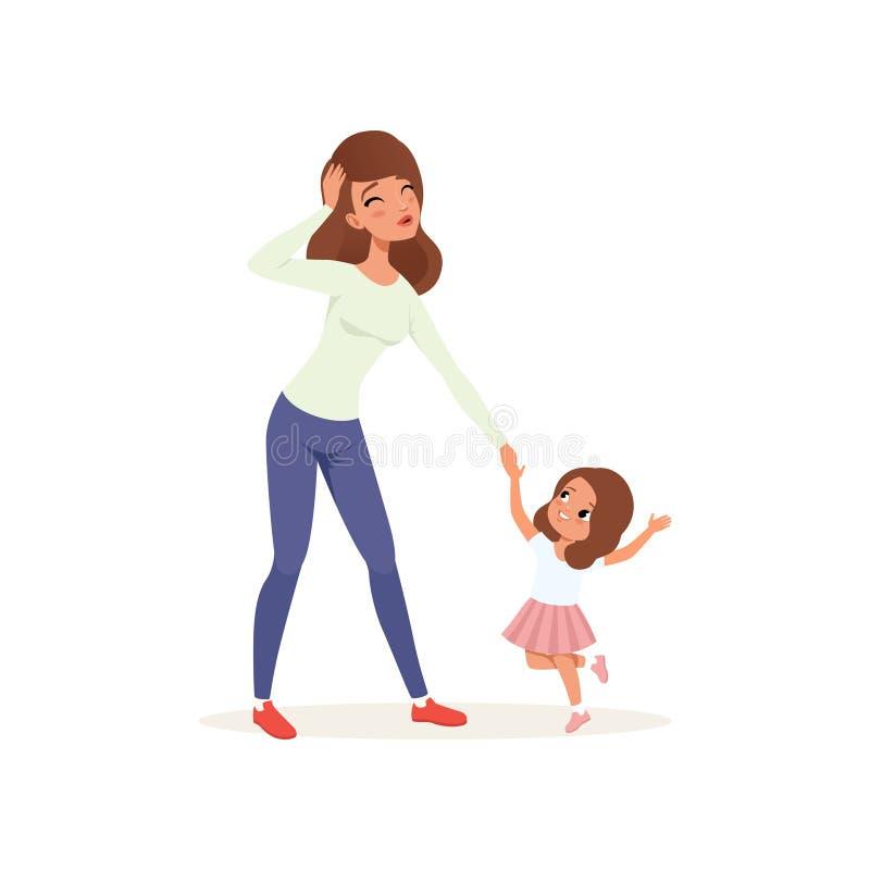 Zmęczony macierzysty mienie wręcza jej niegrzecznej córki, wychowywa stresu pojęcie, związek między dziećmi i rodziców, ilustracja wektor