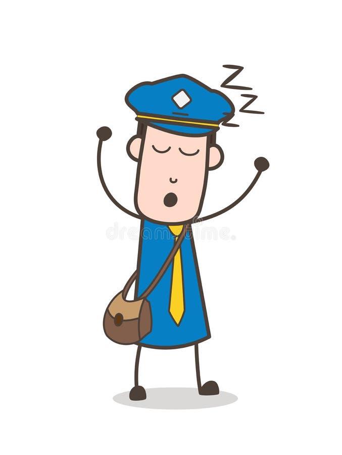 Zmęczony Mailman dosypianie, Chrapać i ilustracji