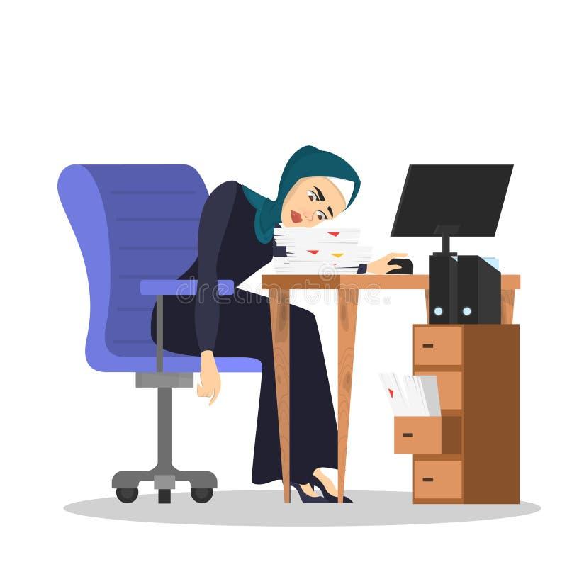 Zmęczony muzułmański kobiety obsiadanie przy biurkiem Dużo pracują royalty ilustracja