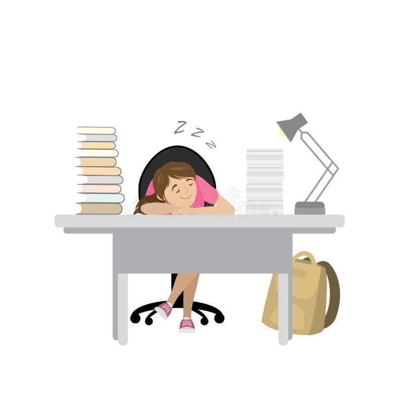 Zmęczony nastolatek dziewczyny sen przy stołem z książkami ilustracja wektor