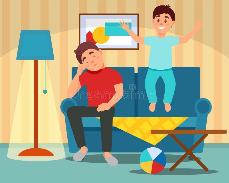 Zmęczony ojca obsiadanie na leżance obok skokowego syna, wychowywa pojęcie, izbowa wewnętrzna wektorowa ilustracja w mieszkaniu royalty ilustracja
