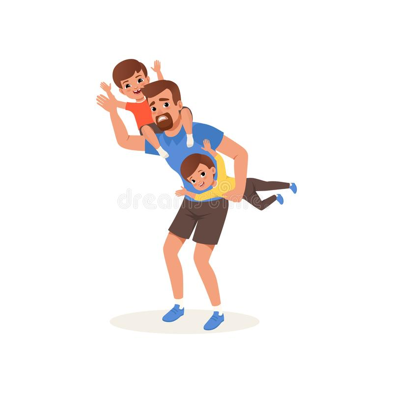Zmęczony ojciec bawić się z jego synami, wychowywa stresu pojęcie, związek między dziećmi i rodziców wektorowych, ilustracji