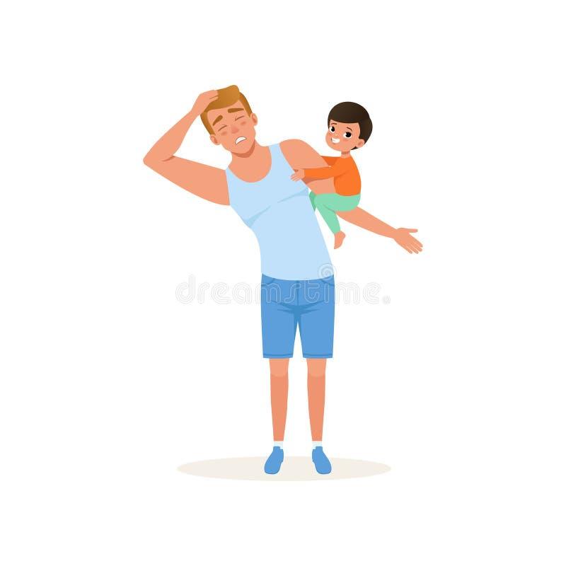 Zmęczony ojciec i jego niegrzeczny syn wychowywa, stresu pojęcie, związek między dziećmi i rodziców wektorowych, ilustracji