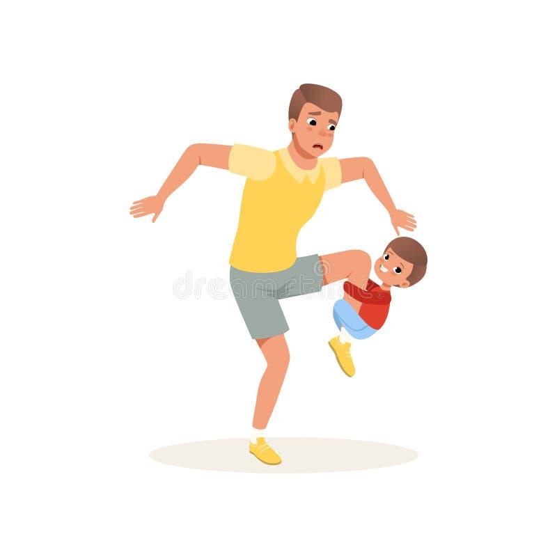 Zmęczony ojciec i jego syn wychowywa który chce bawić się, stresu pojęcie, związek między dziećmi i rodziców wektorowych, ilustracja wektor