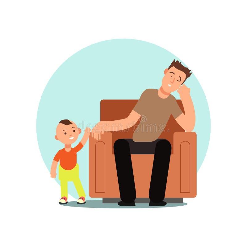 Zmęczony ojciec uśpiony w krzesło wektoru ilustracji ilustracji