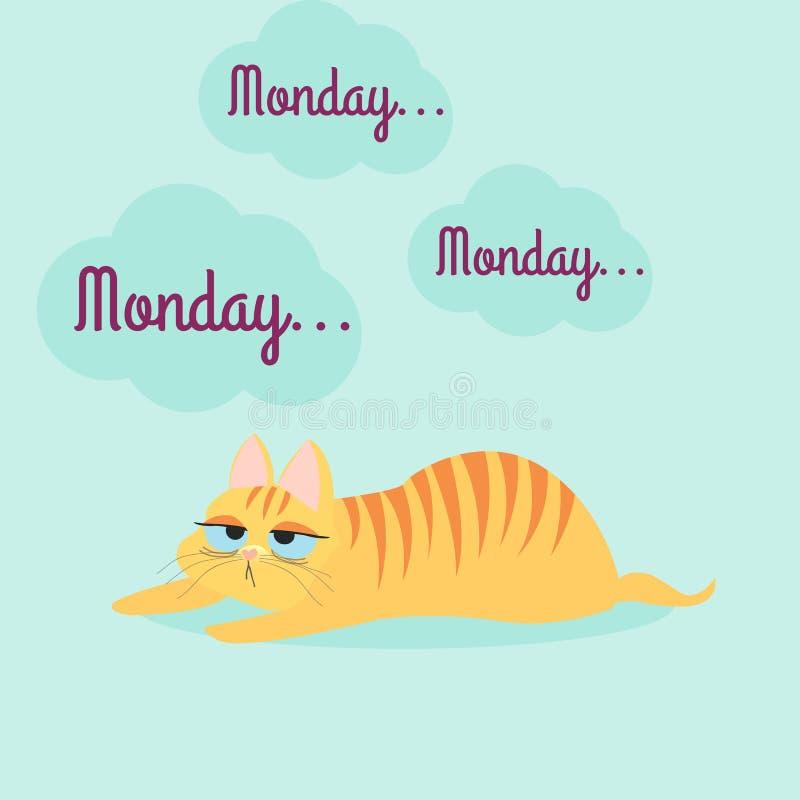 Zmęczony pomarańczowy kot z lampasami Zanudzać Poniedziałek również zwrócić corel ilustracji wektora ilustracji
