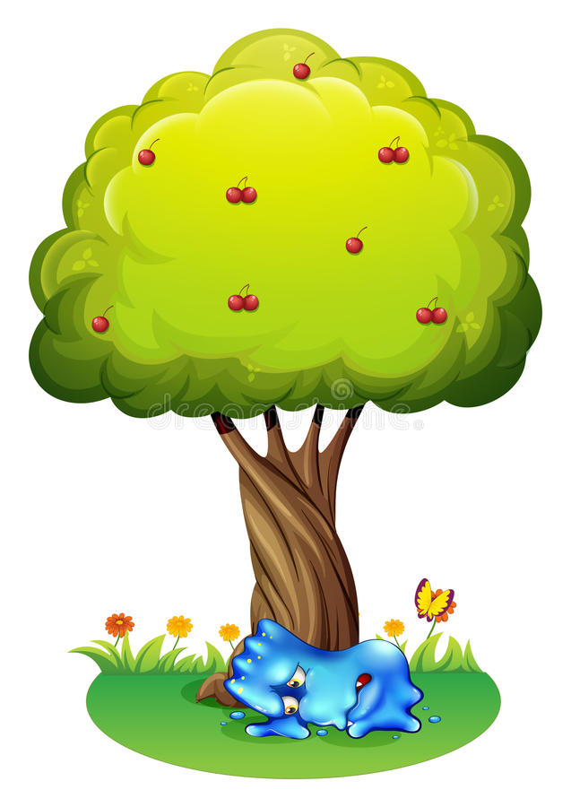 Zmęczony potwór pod drzewem ilustracji