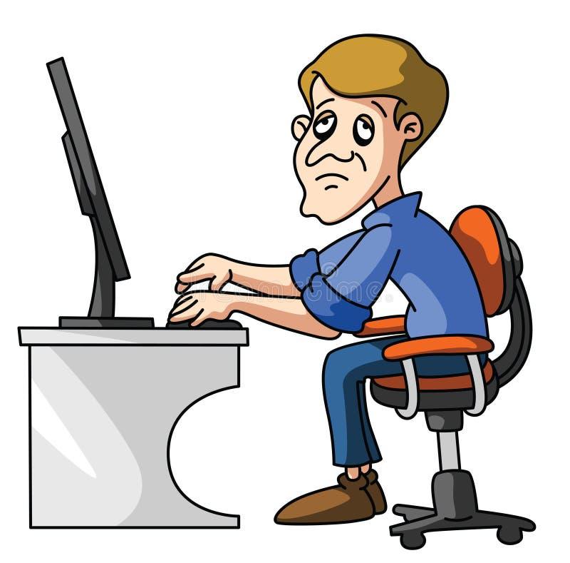zmęczony pracownik ilustracja wektor
