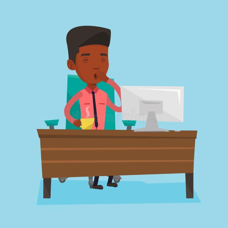 Zmęczony pracownik pracuje w biurze ilustracja wektor