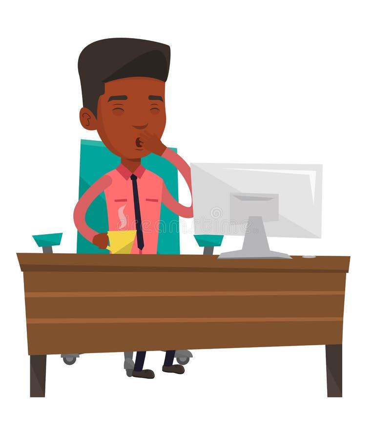 Zmęczony pracownik pracuje w biurze ilustracji