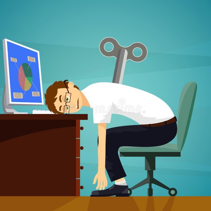 Zmęczony pracownik siedzi przy miejscem pracy Clockwork klucz Akcyjny wektor ilustracja wektor