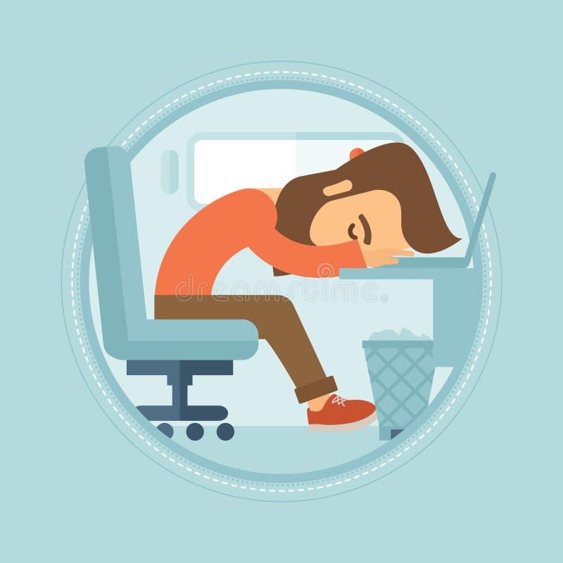 Zmęczony pracownika dosypianie przy miejscem pracy royalty ilustracja