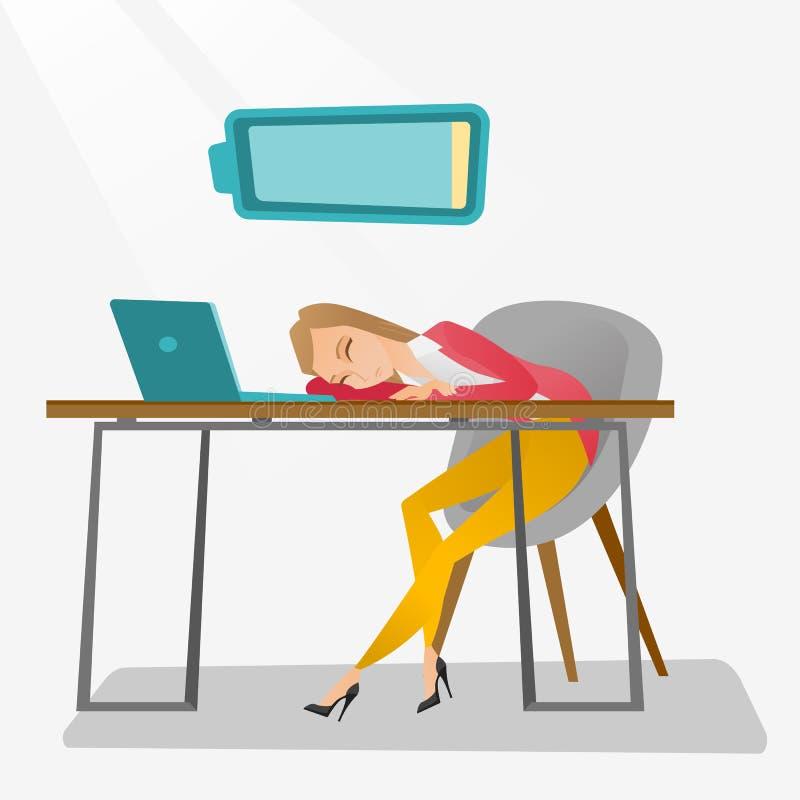 Zmęczony pracownika dosypianie przy miejscem pracy ilustracja wektor
