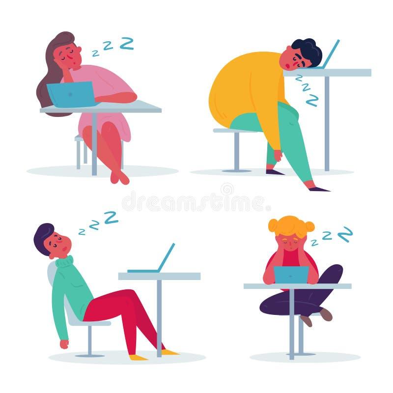 Zm?czony pracownika dosypianie w biurze royalty ilustracja