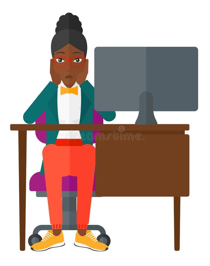 Zmęczony pracownika obsiadanie w biurze ilustracji